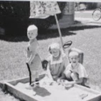 Inhorn Children in Sandbox, (L-R) Rodger, Marcia, Lowell, cir. 1962.JPG