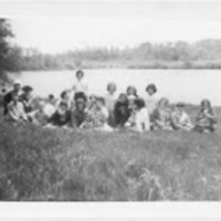 June 1963 Kathy's Girl Scout Group with leader Ellen Cross.jpg